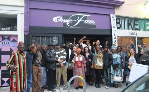 Brother Tehuti is at the left in a group picture outside One Fam in West Oakland. – Photo: Daniela Kantorova