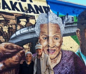 Jerri and Michael Lange stand in front of Jerri's portrait in the renowned Alice Street Mural in downtown Oakland. Journalist Jerri Lange, 90, mother of thespians Michael and Ted Lange, was one of the Bay Area's first African-American women radio and TV personalities and also a professor at San Francisco State University.