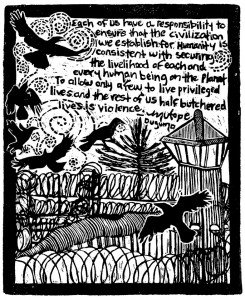 Privileged-vs.-half-butchered-lives-linocut-art-by-Mutope-Duguma-Annie-Banks-web-245x300, Four years since our hunger strikes began, none of our core demands have yet been met: Our protracted struggle must continue, Behind Enemy Lines