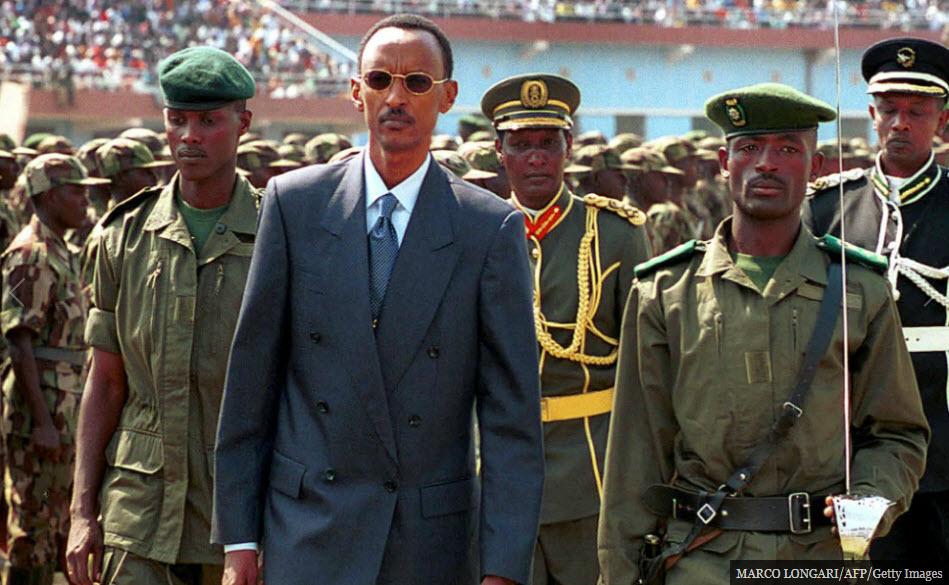 Rwandan President Paul Kagame with the Rwandan Defense Force