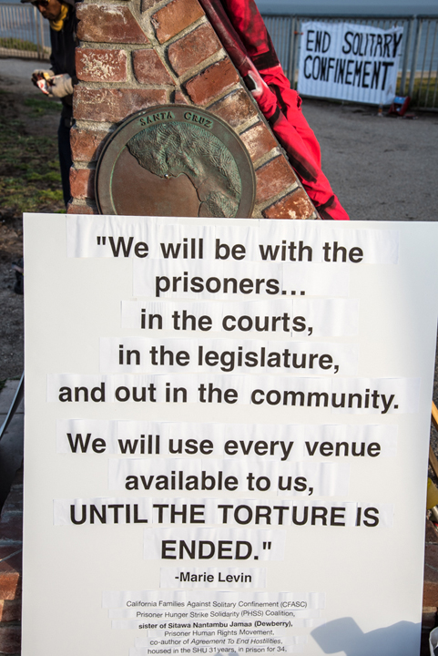 """This story board quotes Marie Levin, who advocates powerfully for her brother, Sitawa Nantambu Jamaa, the Black prisoner representative among the four """"main reps"""" leading the struggle against solitary confinement, in which he has been held for 31 years – 34 years in prison altogether. – Photo: Alex Darocy"""