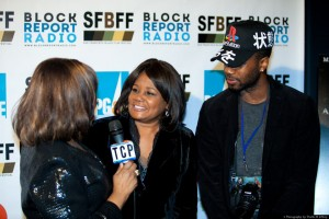 Local TV anchor Carolyn Tyler and her nephew are interviewed by publicist Jackie Wright, who vigorously promoted the festival. – Photo: Diallo Mwathi Jeffery