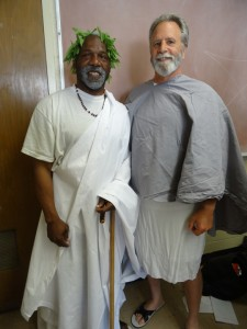 "Andress Yancey plays the Soothsayer and Tony Passer is Cicero in the San Quentin production of Shakespeare's ""Julius Caesar."" – Photo: Wanda Sabir"