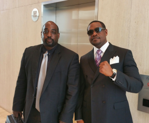 Attorney Stanley Goff with his client, Daryle Washington, in the courthouse