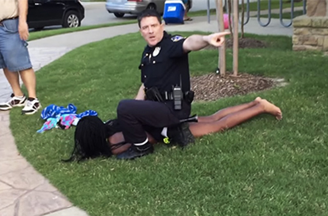 McKinney PD 2008 Officer of the Year Eric Casebolt brutalized 15-year-old Dajerria Becton and turned his gun on other Black children, terrorizing them at a pool party they'd been invited to by a schoolmate who lives in the neighborhood. – Video: Brandon Brooks, YouTube