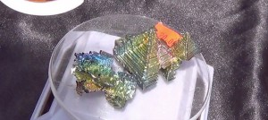 Bismuth crystals are only a little bit radioactive. – Photo: Carol Harvey