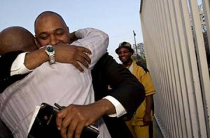 Another of Aaron's objectives was to free others. Here he greets Nathson Fields after bonding him out of jail.