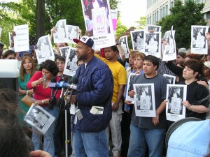 Aaron went to bat for the community immediately upon his release. Here he's speaking at a protest for May Molina, founder of Families of the Wrongfully Convicted, who died in custody in June 2004.
