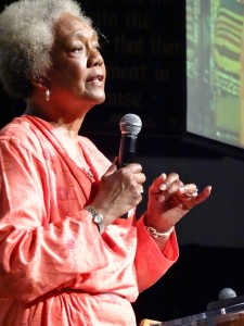 Dr. Frances Cress Welsing speaks at Black Power Talks 2 on June 20 in Washington D.C. She will speak in Sacramento on July 11. – Photo: Wanda Sabir