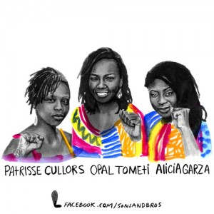 #BlackLivesMatter founders Patrisse Cullors, Opal Tometi, Alicia Garza art by SonsandBros Facebook