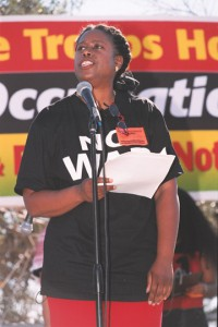 Cynthia McKinney speaks before a quarter million people in San Francisco on Oct. 25, 2003, rallying to stop the imminent Iraq war.