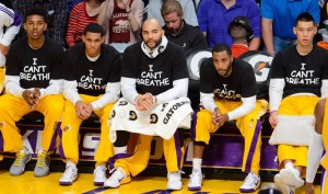 "The LA Lakers honored Eric Garner on Dec. 9, 2014, with ""I can't breathe"" T-shirts."