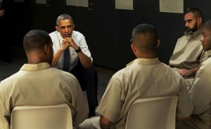 "President Obama's motorcade, when he visited prisoners and toured the El Reno federal medium security prison in Oklahoma, was met with demonstrators waving Confederate flags as ""Confederate Lives Matter"" protests were held in Oklahoma City. His discussion with the prisoners will air this fall on the HBO series, Vice. – Photo: Vice Media"