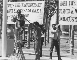 Spartacist-and-Labor-Black-League-supporters-burn-Confederate-battle-flag-SF-Civic-Center-041584-by-Workers-Vanguard-web-300x236, 1984: Confederate flag of slavery taken down from San Francisco Civic Center – 3 times!, Local News & Views