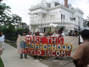 Survivor-Village-protest-on-St.-Charles-Ave-near-Tulane-'Make-this-neighborhood-mixed-income'-2006-by-Indymedia-web-300x225, New Orleans land grab: Addressing the 'elephant' in the city 10 years after Hurricane Katrina, National News & Views