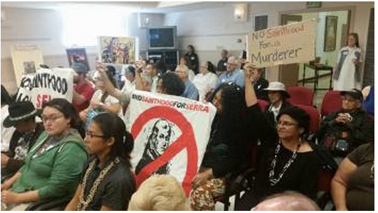 """First Nations people spoke out passionately against the canonization of Junipero Serra at a convening in July at Mission Tierra called """"Serra: Saint or Sinner."""" – Photo: Poor News Network"""