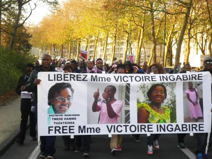 Supporters in Brussels march for the freedom of Victoire Ingabire and all Rwandan political prisoners.