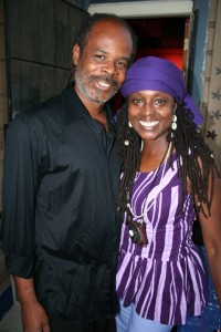 Greg Bridges poses with P. Kujichagulia, beloved jazz trumpeter and ensemble leader, in 2007. – Photo: JR Valrey, Block Report