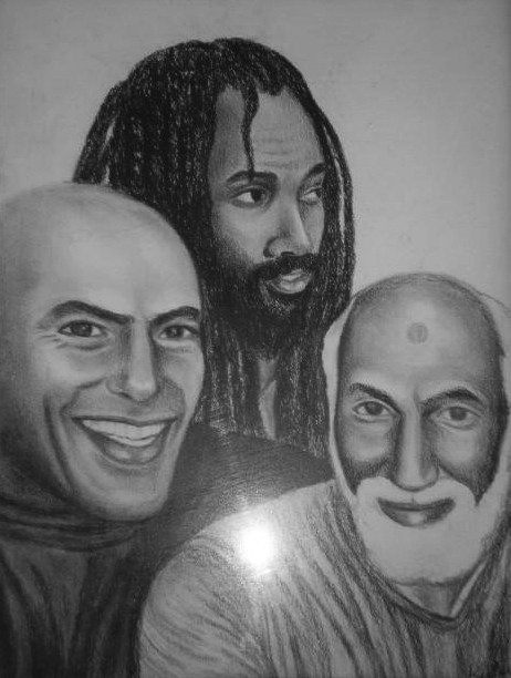 Of these three political prisoners, Hugo Pinell, Mumia Abu Jamal and Nuh Washington, only Mumia is now alive, and his health has been precarious lately due to the prison system's medical neglect and abuse. – Art: Kiilu Nyasha