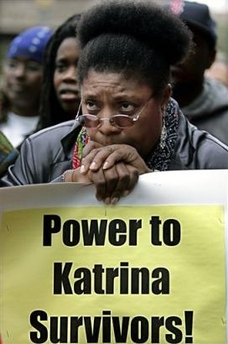 Survivor Mary Ihsaan makes it clear at a protest in New Orleans on Dec. 10, 2005.