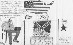 """One Flag"" – Art: Comrade Pitt (Peter Mukuria), 1197165, Red Onion State Prison, P.O. Box 1900, Pound VA 24279"