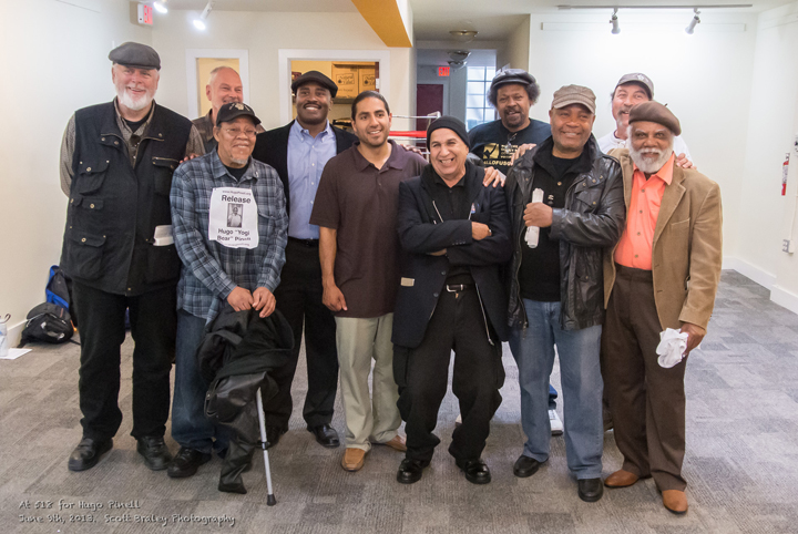 On June 9, 2013, many of the most revered freedom fighters in the Bay Area came out for a Rally for Yogi, Hugo Pinell. A few gathered for a group picture. From left are Doug Norberg, Willie Sundiata Tate, Charlie Hinton, Keith Wattley, Manuel La Fontaine, Louis Bato Talamantez, Emory Douglas, Arthur League, Claude Marks and Terry Collins. – Photo: Scott Braley