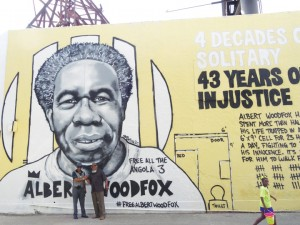 "Robert H. King and Malik Rahim in front of the new mural of Albert ""Shaka"" Woodfox – Photo: Wanda Sabir"