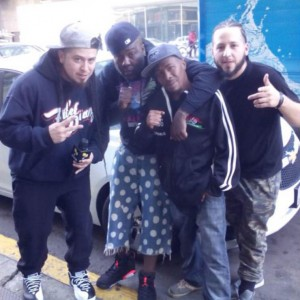 Rod Starz, Mistah Fab, The M.O.I. JR and G1 pose outside of the Arsenal vs. Mistah Fab rap battle in downtown Oakland.