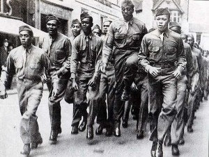 High-stepping World War II era Black enlisted men on the march