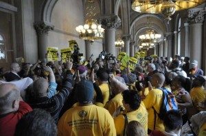 Tenants who live in cities with rent control passionately defend it. These are New York City residents rallying for a stronger rent control law in the capitol in Albany in 2011. – Photo: by Paul Buckowski, Times Union