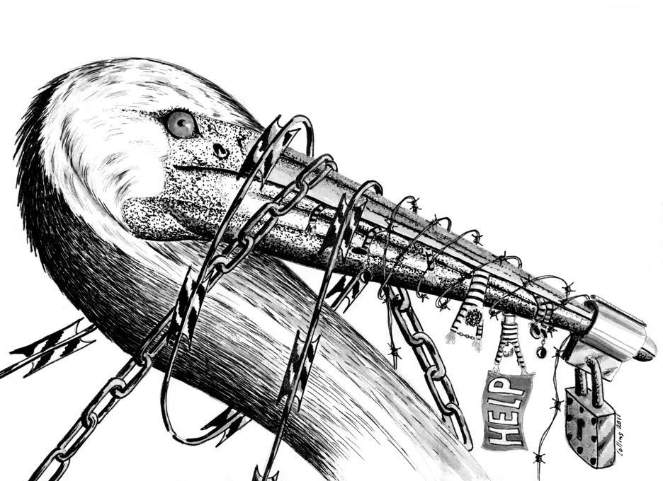 Another drawing used during the hunger strikes that publicizes why the prisoners' anguish could lead them to risk their lives to be just a little freer is this one, by prison artist Pete Collins, caged in Bath Prison, Ontario, Canada, who died in prison on Aug. 13, 2015. The pelican symbolizes Pelican Bay, one of the world's first and most notorious solitary confinement prisons.