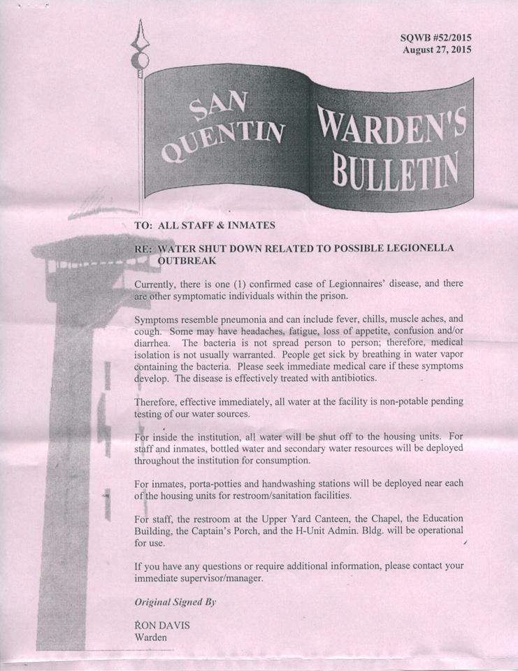 San Quentin Warden's Bulletin re Legionella water shutdown 082715