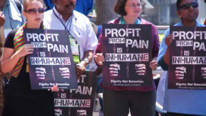At a conference in April 2012, 500 Methodists protested private prisons. Activists are also calling for divestment from private prisons.