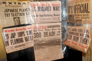 "San Francisco newspaper front pages report major World War II events. The ""300 Dead"" headline refers to the Port Chicago explosion that killed 300 nearly all Black sailors loading munitions on a warship."