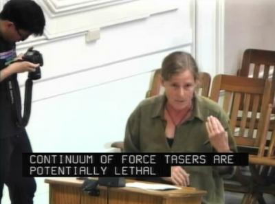 Berkeley Copwatch co-founder Andrea Pritchett speaks to the Berkeley City Council Oct. 6.