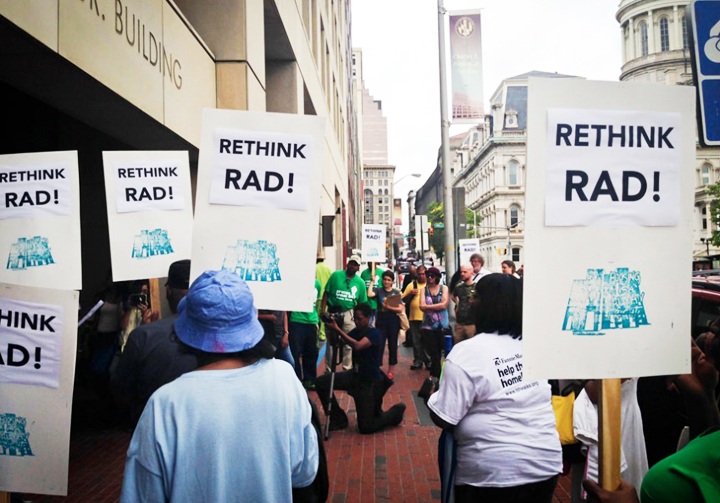 Baltimore public housing tenants who resent their role as guinea pigs for a new national privatization plan staged a Speak-Out to Rethink RAD on June 11, 2014. – Photo courtesy of Right to Housing Alliance