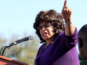 "Congresswoman Corinne Brown is the first Black elected to Congress from Florida since Reconstruction. Here, speaking at a march on the Capitol last March, she calls Florida ""stuck on stupid"" as she demands the repeal of its Stand Your Ground law that was used to justify the murder of Trayvon Martin and that sent Marissa Alexander to prison for firing a warning shot at her abuser that hurt no one. – Photo: Glenn Bell, Tallahassee Democrat"