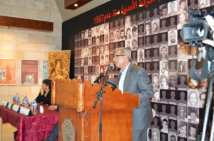 "Issa Qaraka, the head of the Ministry of Prisons in Palestine, addresses the exhibition audience and closes his comments with a quotation from Huey P. Newton's revolutionary eulogy for Jonathan Jackson: ""If the penalty for the quest for freedom is death, then by death we escape to freedom."""