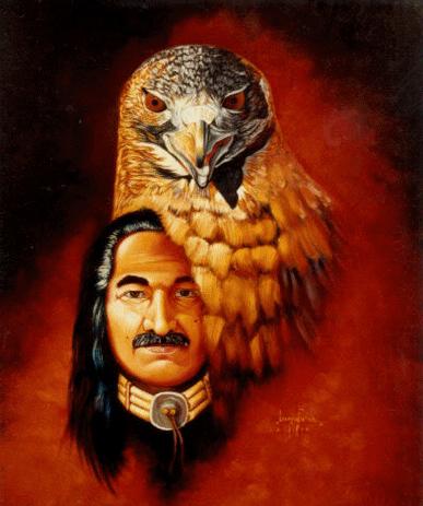 """""""Hawkman,"""" a self portrait – Art: Leonard Peltier"""