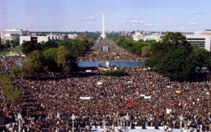 "About a million people filled the National Mall on 10-10-15 to mark the 20th anniversary of the Million Man March and demand ""Justice or else""! – Photo: Bri Forte"