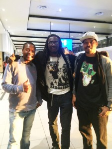 Mimi, Taharka and Chris at the O.R. Tambo International Airport in Johannesburg