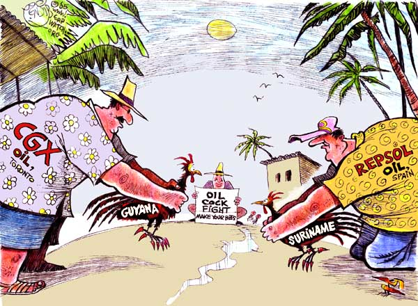 Guyana lies on the northern coast of South America between Venezuela to the west and Suriname to the east. Oil discoveries are aggravating or instigating border disputes on both sides. The Suriname dispute depicted here is similar to the one with Venezuela, except in that case it's the recent discovery of oil off the coast of Guyana by the U.S. oil giant Exxon-Mobile that is inflaming an old conflict. – Cartoon: Khalil Bendib