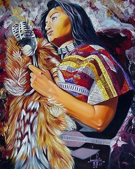 Though Leonard Peltier's portrait of Evo Morales is not yet available, Leonard is recognized as an excellent artist; this is an example of his beautiful work. – Art: Leonard Peltier