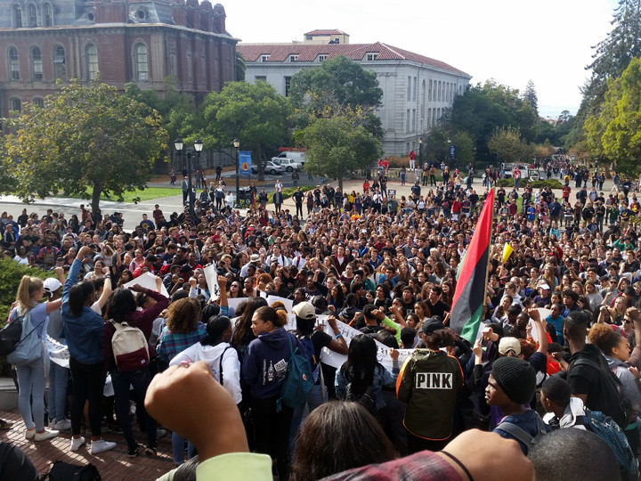 The Nov. 5 rally drew the majority of Berkeley High School student body. – Photo: Lance Knobel, Berkeleyside
