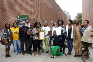 A few of the participants in the Black Urban Growers (BUGS) conference at Laney College in Oakland gather for a photo. – Photo: Fatima Nasiyr