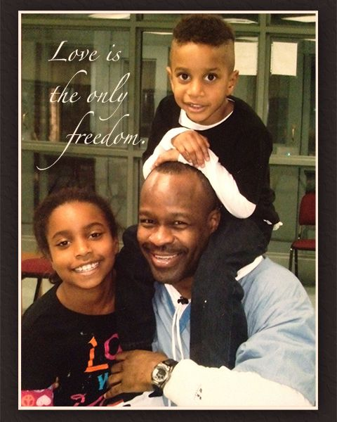 Bomani-card-w-children-Love-is-the-only-freedom, Keith LaMar (Bomani Shakur) and other Lucasville prisoners on hunger strike since Nov. 9, Behind Enemy Lines