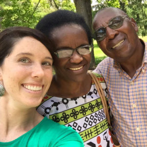 Dr. Léopold Munyakazi, right, poses with his wife, Catherine, and their friend, Nicole Lee Wills, who has organized a Léopold support committee.