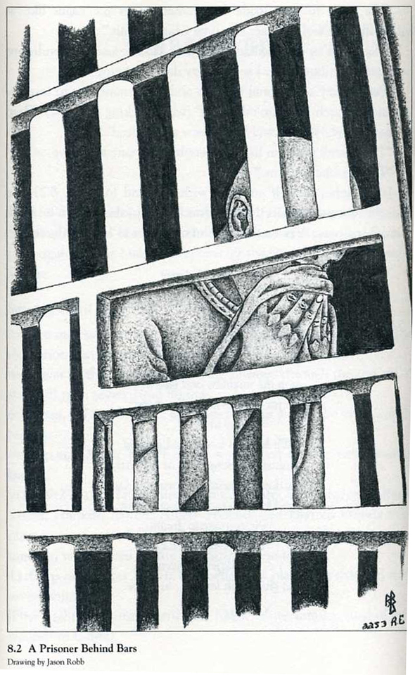 "This drawing, ""A Prisoner Behind Bars,"" by Jason Robb, who has joined Bomani's current hunger strike, appears in Staughton Lynd's book, ""Lucasville."""