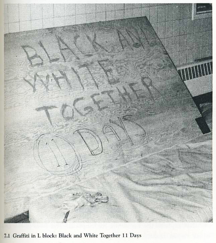 Lucasville-by-Staughton-Lynd-Black-and-white-together-11-days-0493, Keith LaMar (Bomani Shakur) and other Lucasville prisoners on hunger strike since Nov. 9, Behind Enemy Lines