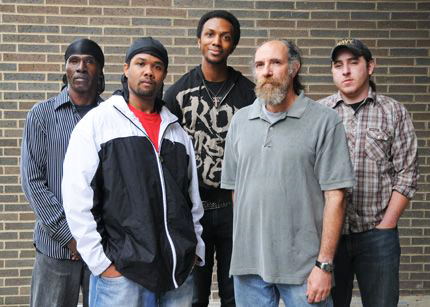 Lucasville-the-untold-story-of-a-prison-uprising-cast-at-NYC-Intl-Fringe-Festival-2008, Keith LaMar (Bomani Shakur) and other Lucasville prisoners on hunger strike since Nov. 9, Behind Enemy Lines